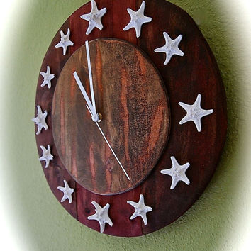 "Clock, Reclaimed Wood Clock, Round Cherry Two Toned Starfish Clock, Coastal Decor, Beach House Decor 15.5"" Diameter. Beautiful color- UNIQUE"