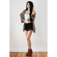Vintage Lace Collection Black Shorts With Black Crochet Lace Trim.