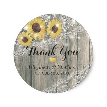 Wood Sunflower Lace String light Wedding Thank You Classic Round Sticker
