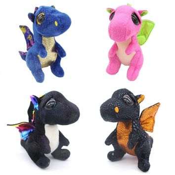 "Ty Beanie Boos Big Eyes 6"" Kawaii Dragon Plush Animal Dolls Toys for Children Stuffed Girls Birthday Gift Dolls"