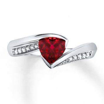 Lab-Created Ruby Ring Lab-Created Sapphires Sterling Silver