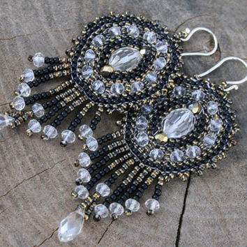CHANDELIER EARRINGS, goth earrings, boho earrings, DANGLE long fringe seed beads beaded fringe earrings, native earrings, black beadwork