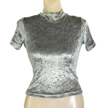 Vintage 90s Grunge Shirt High Neck Top Silver Top Crushed Velvet Top Velvet Shirt 90s Club Kid 90s Rave Shirt Rave Top 90s Clothing Women