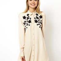 ASOS Swing Dress With Floral Applique And Embroidery