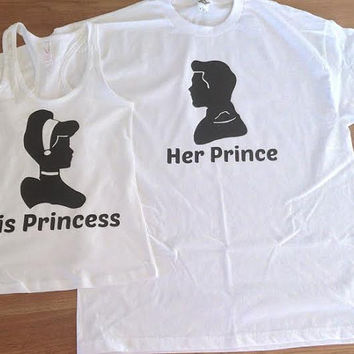 Free Shipping for US Cinderella and Prince Charming Couples Shirts/Tank Tops.