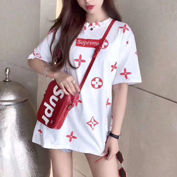 """Supreme X Louis Vuitton"" Women Casual Fashion Letter Logo Print Short Sleeve Middle Long Section T-shirt Mini Dress"