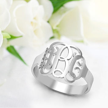 womens Jewelry,Initials Monogram Ring ,Name Ring, Hand Cut Script Monogrammed Sterling Silver Rings Personazlied Name Ring,gift for women