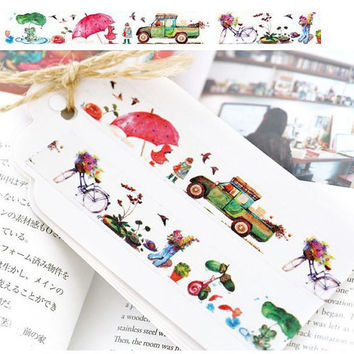 rainy day washi Masking tape 10M rainy garden little girl frog cartoon masking tape red umbrella green car bicycle sticker gift decor