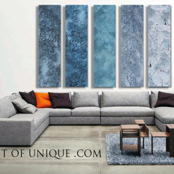Blue Steel Abstract Paintings, - 5 panel CUSTOM Metal Wall Art, Steel Paintings, - Steel, silver, Metal, blue steel,Concrete, Stone