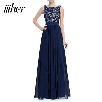 iiiher Woman Long Dress Party Evening Summer Elegant Femme Wedding Robe Longue  Femme Vintage Lace Casual Dresses Maxi Vestidos