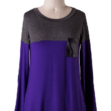 Purple is the New Black Colorblock Top