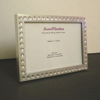 SILVER & BLING Picture Frame - 5 x 7 inch silver w/ clear rhinestones