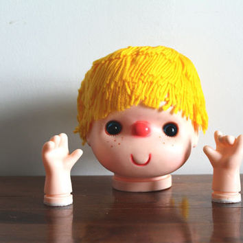 Yellow Orange Yarn 6 Inch Doll Head Includes Hands Craft Supplies