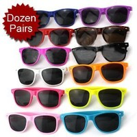 MJ Boutique's Assorted Random Colors Wayfarer Style Party Sunglasses - One Dozen