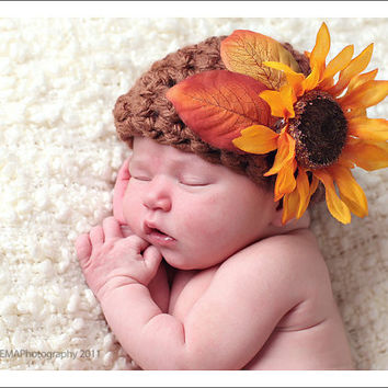 Crochet Baby Hats Newborn Flower Hat Baby Girl by knoodleknits