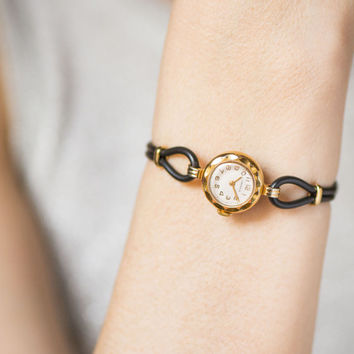 Luxury lady's watch Seagull, gold plated women wristwatch small, mid century cocktail watch ornamented, tiny watch, premium leather strap