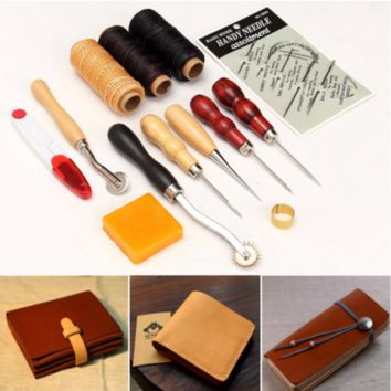 13pcs Wood Handle Leather Craft Tools Kit Leather Hand Sewing Tool Punch Cutter
