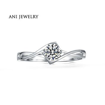 ANI 18K White Gold (AU750) Wedding Ring 0.50 CT Certified I/SI Natural Solitaire Round Cut Diamond Jewelry Twisted Bridal Rings