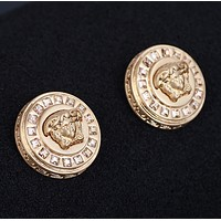 Versace women high quality fashion new diamond round earring accessories Golden