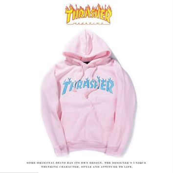 THRASHER Flame Hooded Hooded Men and Women Street Tide Brand Tops Long Sleeves Loose Hooded Jacket Pink
