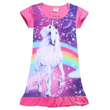 Summer Girl Dress Print Unicorn Dress for Girls Vestidos Beach Girls Dress Princess Dresses Unicorns Children Clothes