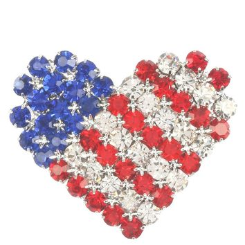 Mulit Color Stars And Stripes Heart Rhinestone Metal Pin And Brooch