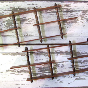 Vintage set of 2 wooden curios shelves for knick knacks and what nots