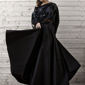 Maxi Black Skirt / Long Black Skirt / Oversize Long Skirt / Casual Skirt - XXL, XXXL, XXXXL Available