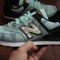 Aqua Black New Balance 574 Swarovski Crystal Accent Blinged Out Custom Women