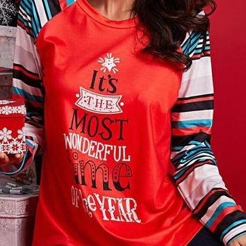 New Red It's The Most Wonderful Time Of The Year Pattern Christmas Casual T-Shirt