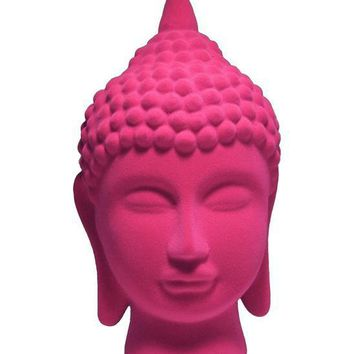 Hot Pink Boho Buddha Head Décor Figurine