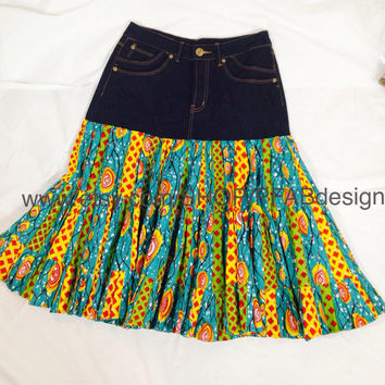 Ankara mid short Skirt/Handmade/The African shop/African clothing/Denim Fashion/African Fabric/African Skirts/ Bel-Ankara Denim Short skirt.