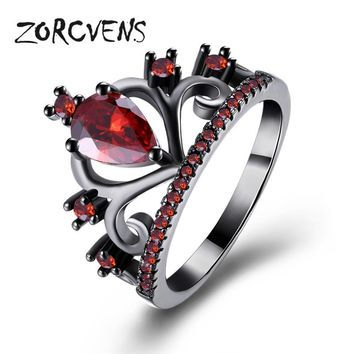 ZORCVENS 2017 Crown Rings For Women Birthday Gift Trendy Black Gold Color Cubic Zirconia Engagement Wedding Bands Promise Rings