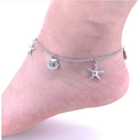 Starfish and Shell Charm Stainless Steel Anklets