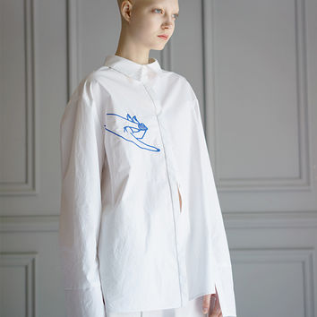 Embroidered Hand Oversized Shirt