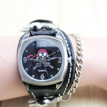 Skull Cool Fashion Wide Leather Skeleton Head Punk Rock Leather Watch Free Shipping