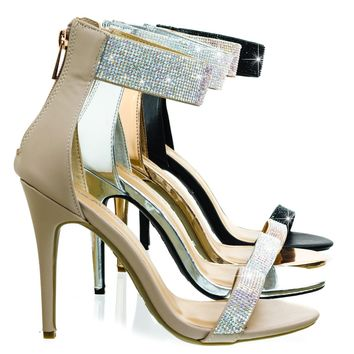 Royals46 High Heel Dance Sandal w Rhinestone Crystal & Thick Ankle Strap