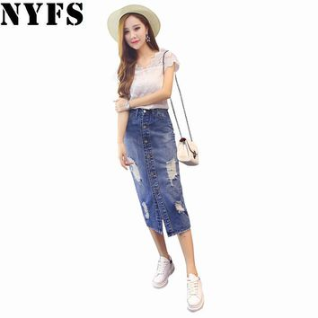 2018 Spring Summer Autumn fashion women long denim skirt casual plus size maxi skirts blue color vintage jeans pencil skirts