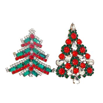 Czech Glass Green and Red Christmas Tree Brooches