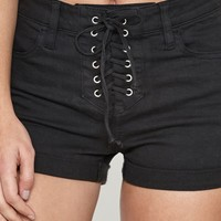 PacSun Cola Black High Rise Super Stretch Denim Shorts at PacSun.com