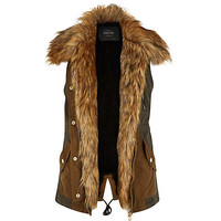 River Island Womens Khaki sleeveless faux fur lined vest
