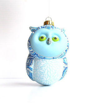 Barn Owl: Hand Painted Ceramic Owl Ornament Blue Owl Ornament Cute fat owl