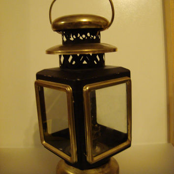 Latern Oil Lamp Brass and Black