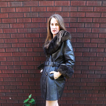 Iconic Vintage 1970s 60s Brown Leather  Fur TRENCH COAT Belted JACKET Winter Outerwear Hippie Boho Fur Trim Coat Fall Jacket American Hustle