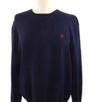 POLO RALPH LAUREN Classic Mens BLUE Cotton Knit POLO Shirt top Size M Medium