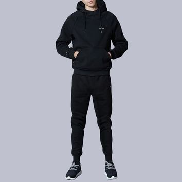 Male Sweater Suit Casual Fashion Long Sleeve Hooded Sweatsuit+Pants Sets Men Autumn Winter Suits Cashmere Thickening Cotton Sets
