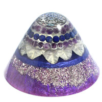 Amethyst and Onyx Orgone Cone - EMF Protection - Energy Healing Spiritual Gift - Grounding and Protection