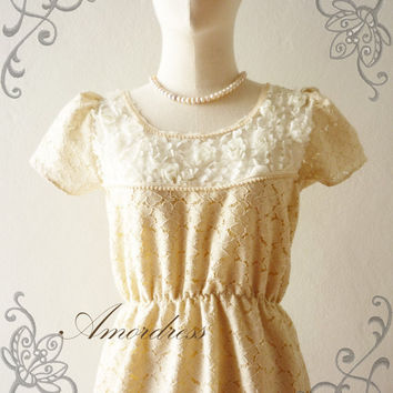 SALE -- Amor Vintage Inspired- Rose Garden- Gorgeous Handmade Whimsical Earth Light Brown Lace Dress -  Fit Size XS-S-