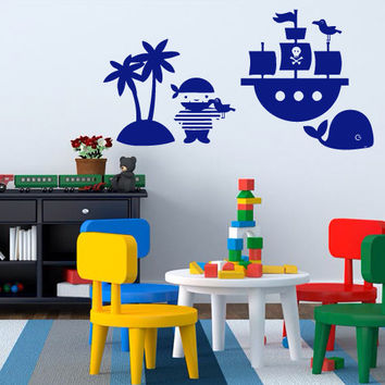 Wall decal decor decals sticker art vnyl nursery  cartoon  ship  pirate  palm  whale  child  sail Bedroom (m1242)