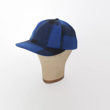 Vintage 80s FILSON Hunting HAT / 1980s Blue Plaid Wool Buffalo Check Baseball Cap